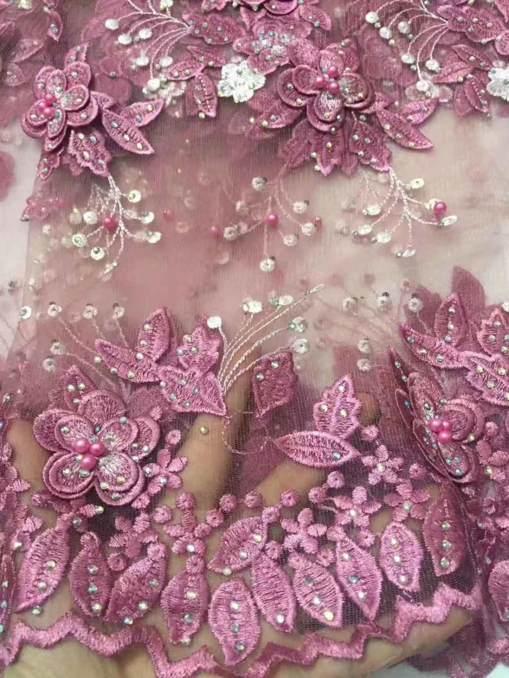High end 2019 Pink french lace embroidered tulle lace with heavy stones beaded nigerian Guipure lace