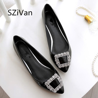 SZiVan Spring Autumn Women Shoes Pointed Rhinestone PU Patent Leather Flat Shoes 33 45 Size Comfortable