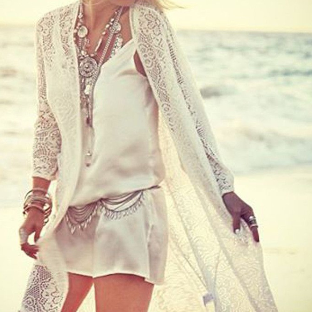 2018 Pareo Beach Cover Up Floral Embroidery Bikini Cover-Ups Swimwear Robe De Plage Beach Cardigan Bathing Suit Cover Ups White