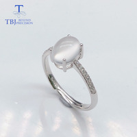 TBJ,cute simple small ring with natural white moonstone gemstone ring in 925 silver rose color for girls best engagement gift