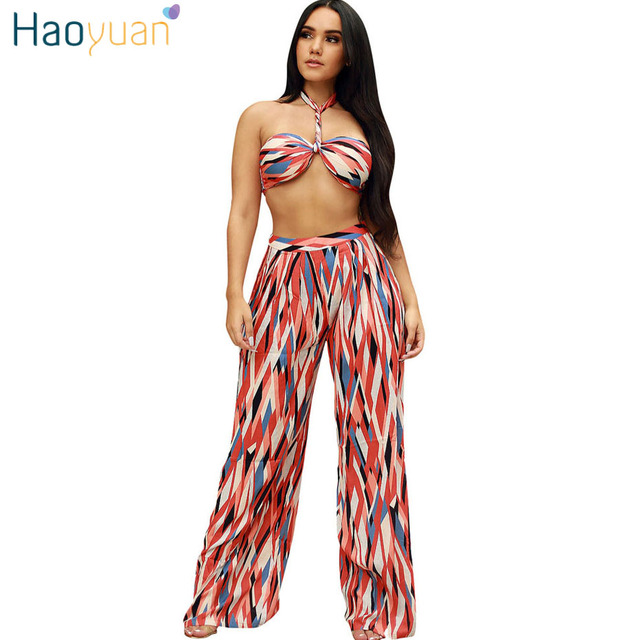 d9a3edf87c0c HAOYUAN Sexy 2 Piece Set Women Off Shoulder Strapless Crop Tops+Wide Leg  Pants Suits 2018 Summer Outfits Two Piece Matching Sets