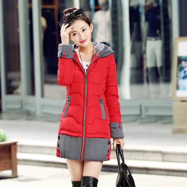 2016 Nova Primavera Mulheres Jaqueta de Inverno Longo Mulheres Outwear Casaco Quente Jaqueta de algodão Acolchoado Fino Revestimento Das Senhoras Roupas de Alta Qualidade