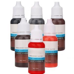Image 3 - タトゥーインク 15 ミリリットル/ボトル眉毛リップ植物色素永久顔料インク Microblading 化粧品ツール