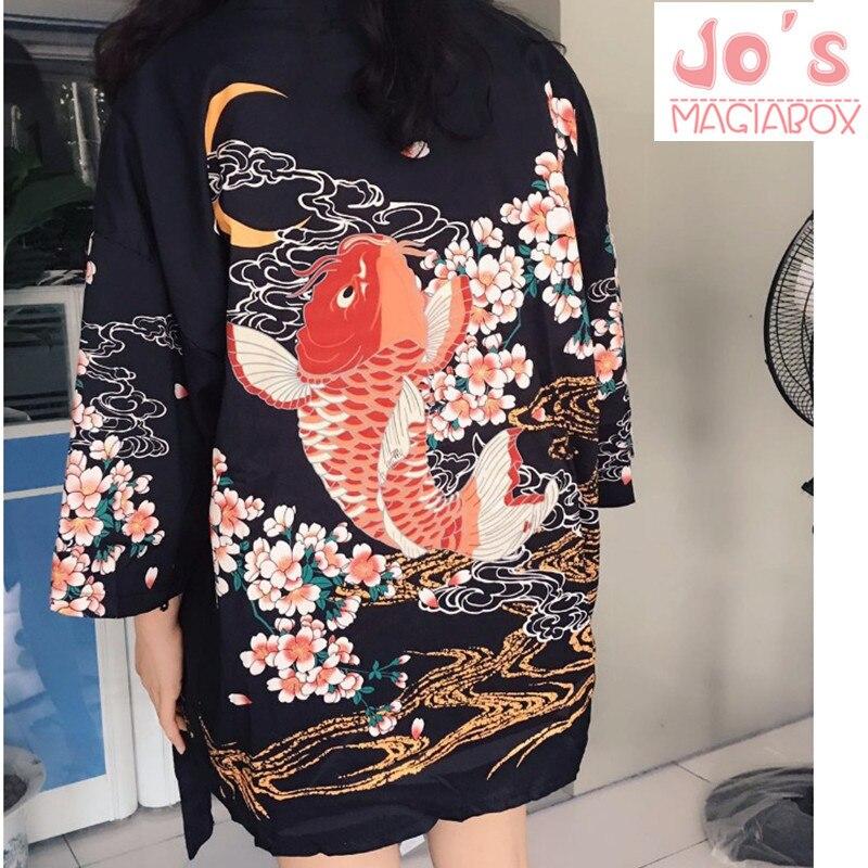 2017 verano pescado Kimono japonés Cardigan para mujer blusa de mujer camisa de las mujeres de Jiu Jitsu Harajuku Kimono Kawaii largo más tamaño
