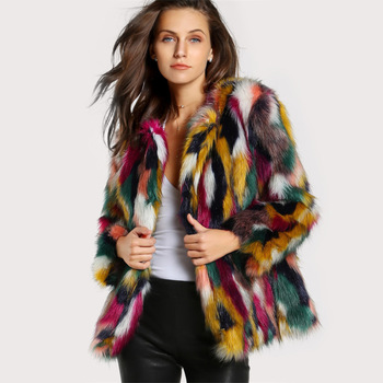 ac649efa4f12d Color de invierno abrigos de piel de las mujeres elegantes abrigos de piel  de imitación de piel de abrigo marca fashionLong manga chaqueta de mujer  Casual ...