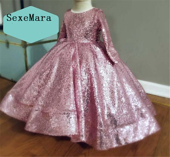 Sparkly Rose Gold Sequins Baby Princess Birthday Party Dresses Ball Gown Toddler Girl Glitz Pageant Gown for Special Occasion