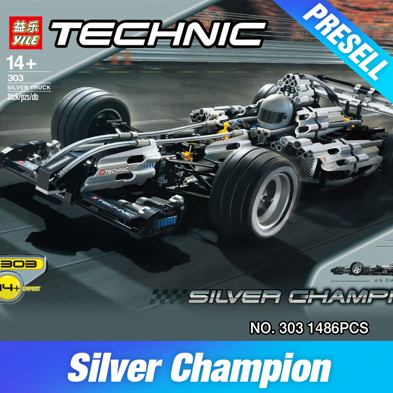 NEW 1486Pcs Yile Technic Series The Ultimate Sliver Champion F1 Racing Car Set Educational Building Blocks Bricks Boy Toys 8458