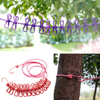 Outdoor Portable Travel Elastic Clothesline Camping Clothesline Folding Windproof Clothes Line With 12 Clamp Clip Hooks