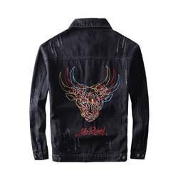 Mcikkny Ретро Для мужчин джинсовые куртки с вышивкой Головы Быка джинсовая куртка Здравствуйте-стрит Повседневное уличная пальто для мужчин
