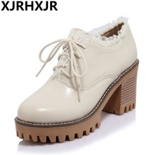 XJRHXJR Size 34-43 Women Vintage High Heel Shoes Lace Up Sexy Round Toe Thick Pumps Leisure Footwear