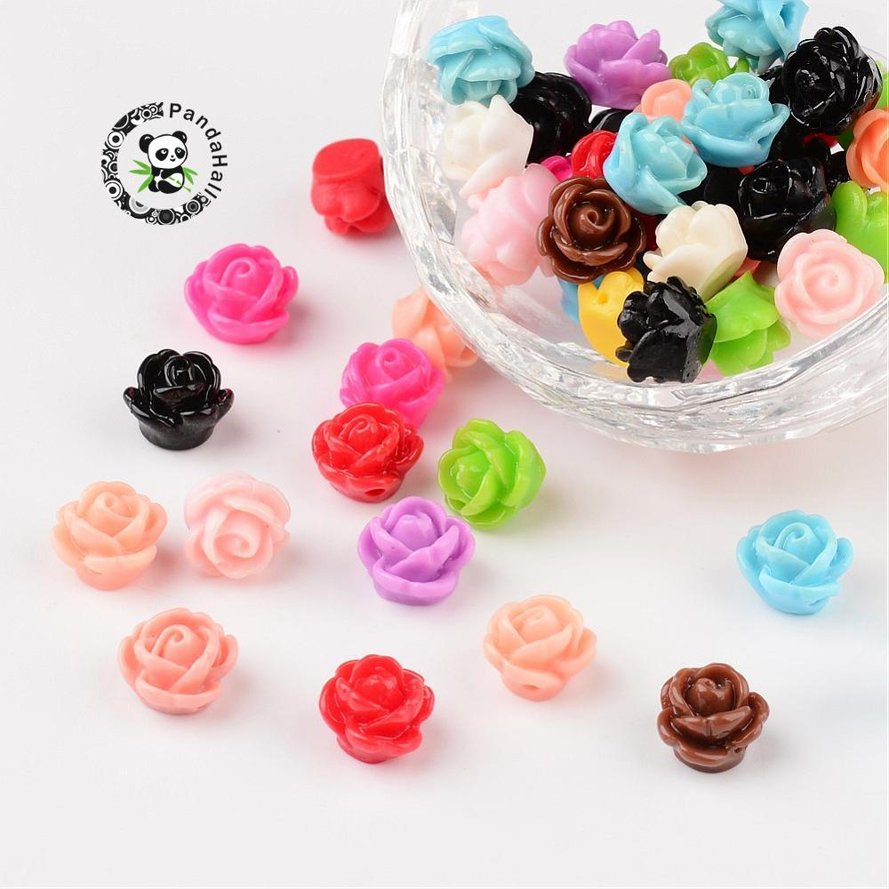 Opaque Resin Beads Rose Flower Mixed Color 9x7mm Hole 1mm