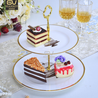 Jane-Style Européen Porcelaine Double Decker Plaques Gâteau Fruits Collation Plaque Après-Midi Thé Anglais Plateau En Céramique Creative Cadeau
