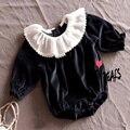 Folha De Lótus Colarinho Chiffon Romper do bebê de Veludo Romper Do Bebê Meninas Boutique Elegante Estilo Princesa Rosa Bebê Traje Macacão Preto