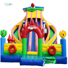 Amusement Park Large Inflatable Bend Slide Inflatable Jumping Bouncer For Sale