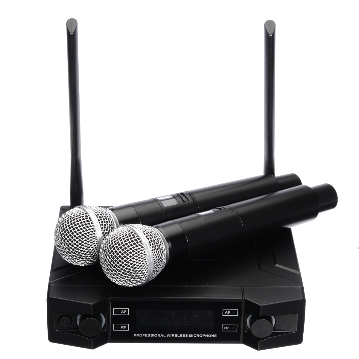 Professional Karaoke UHF Wireless Microphone System 2 Channel 2 Handheld  Microphone 620MHZ-950MHZProfessional Karaoke UHF Wireless Microphone System 2 Channel 2 Handheld  Microphone 620MHZ-950MHZ