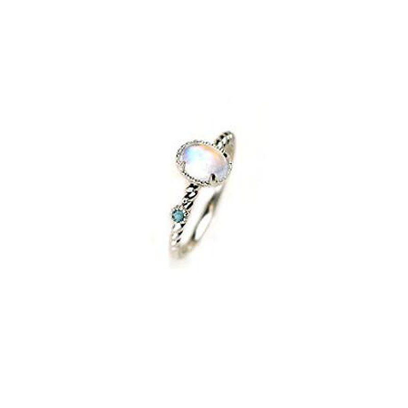 Ruifan Natural Moonstone White Gold Color Sterling Silver 925 Ring for Women Gemstone Topaz Open Rings Accessories Women YRI087