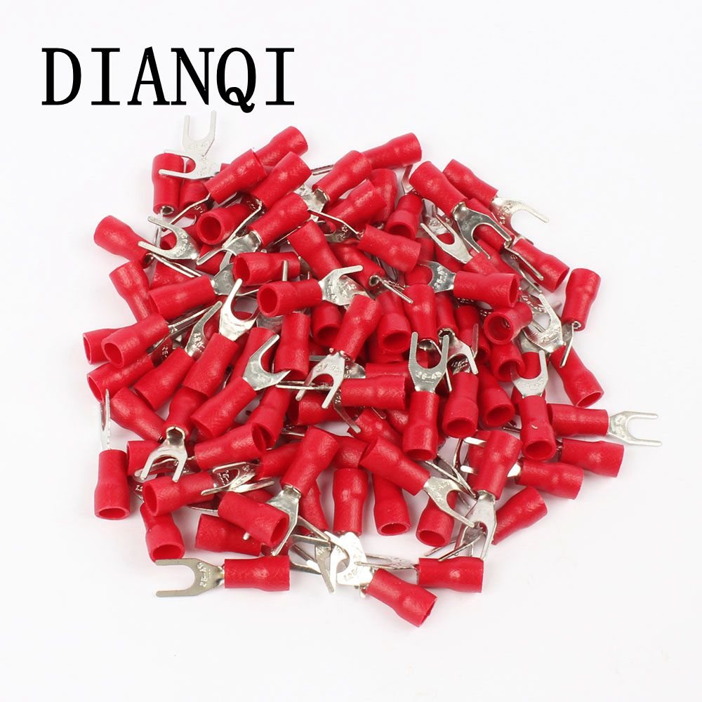 DIANQI SV1.25-4 Red Furcate Fork Spade 22~16AWG Wire Crimp pressed terminals Cable Wire Connector 100PCS/Pack SV1-4 SV 1meter red 1meter black color silicon wire 10awg 12awg 14awg 16 awg flexible silicone wire for rc lipo battery connect cable