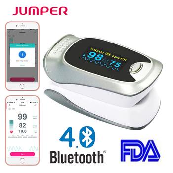 Bluetooth pulsoksymetr pulsoksymetr krwi Saturometro Monitor SPO2 PR Oximetro De Pulso przenośny Pulsioximetro + zdrowie APP tanie i dobre opinie Ciśnienie krwi 5*7*9 JPD-500F(Silver color) Palec JUMPER plastic Bluetooth pulse oximeter Color OELD screen FDA CE Silver with white