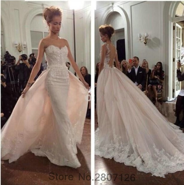 Removable Wedding Gown Dress: 2017 Mermaid Wedding Dresses Detachable Skirts Lace