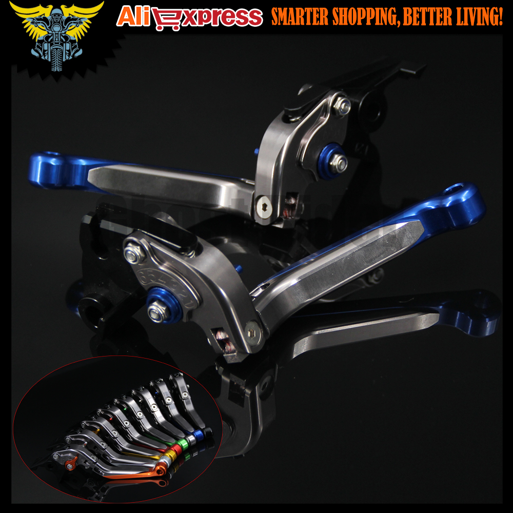 Blue+Titanium New CNC Adjustable Folding Extendbale Motorcycle Brake Clutch Levers For Yamaha YZF R1 2004 2005 2006 2007 2008 cnc long adjustable racing clutch brake levers for yamaha yzf r1 2004 2005 2006 2007 2008