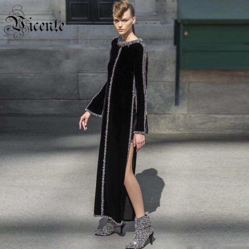 Vicente CHAUDE Chic Luxe Coloré Perles Conception Noir Longue Robe Sexy de Split Manches Longues En Gros Party Celebrity Robe de Velours