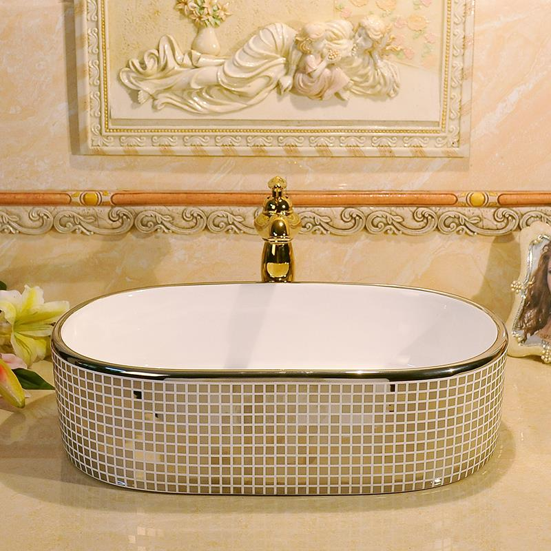 Silver Mosaic Design Oval Basin Washbasin Jingdezhen Art Ceramic Wash Basin Vessel Sinks