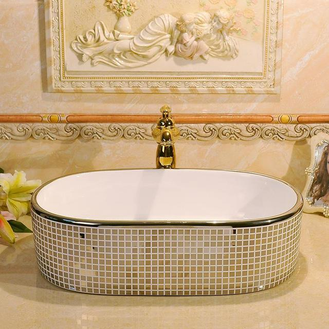 Silver Mosaic Design Oval Basin Washbasin Jingdezhen Art Ceramic Wash Basin Vessel  Sinks Countertop Bathroom Sinks