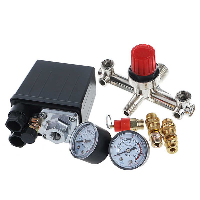 REGULATOR HEAVY DUTY Air Compressor Pump Pressure Control Switch + Valve Gauge Nov2-C