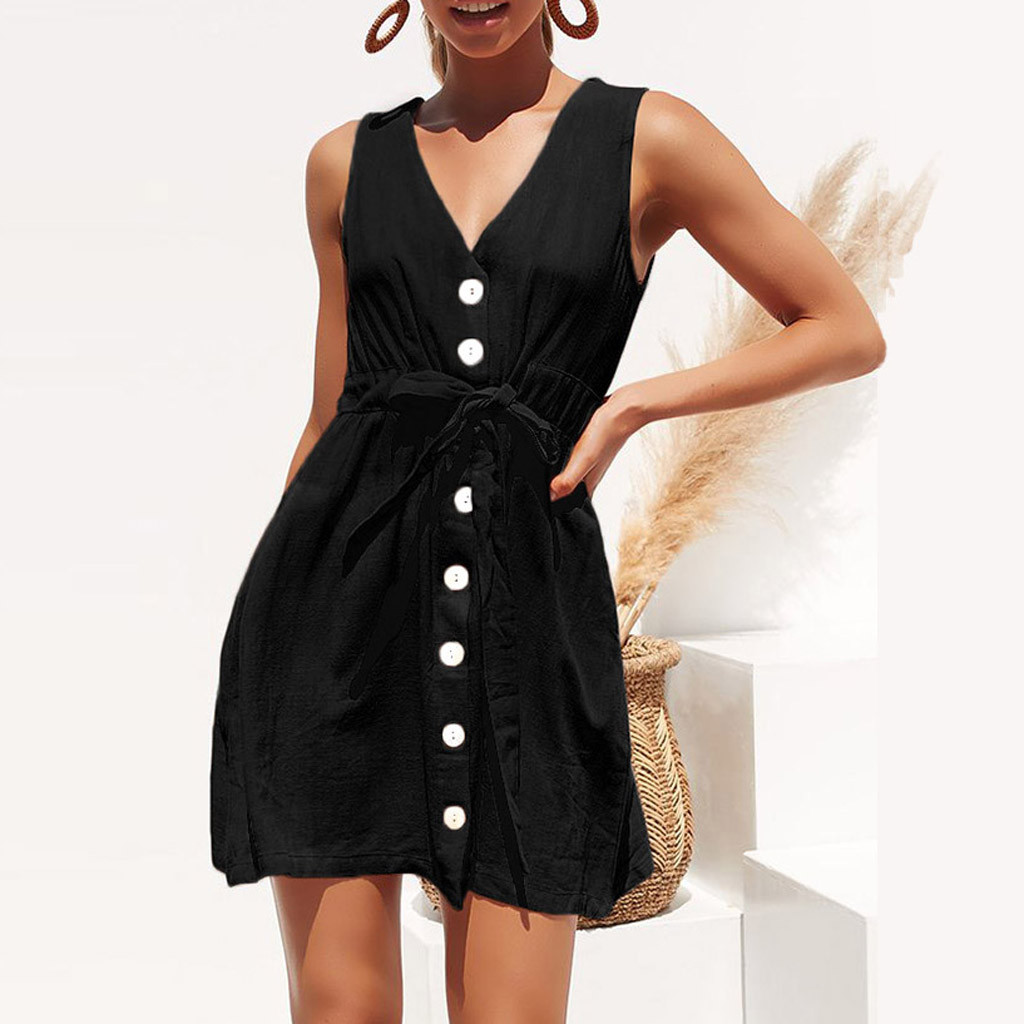 Women Summer Dress 2020 Casual Solid Sleeveless V Neck Button Mini Party Dress Womens Beach Bandage A-Line Sundress Vestidos