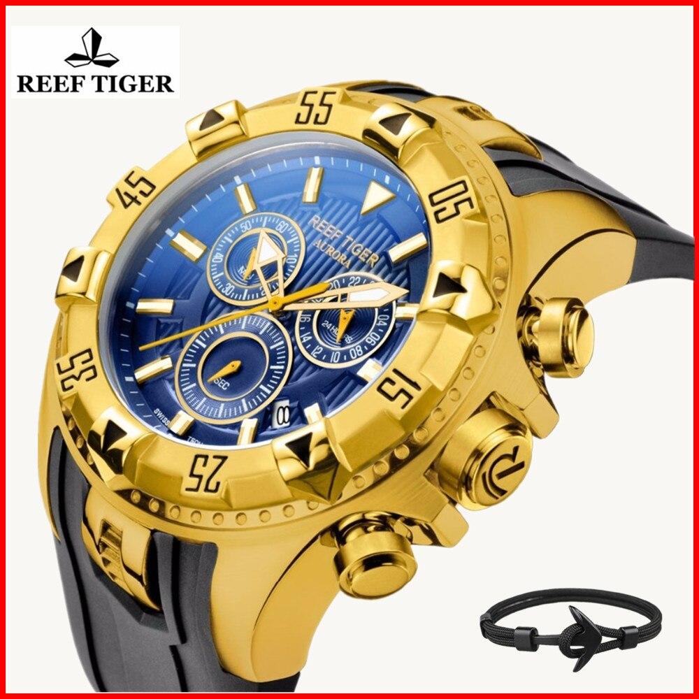 Relojes Hombre 2019 brand luxury Reef Tiger Sport Watches Mens Chronograph Rubber Waterproof Quartz Watch Relogio Masculino+gift 機械 式 腕時計 スケルトン