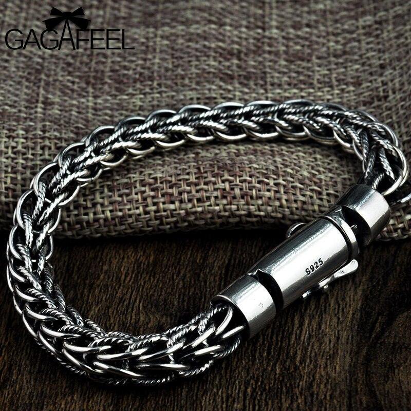 GAGAFEEL S925 тайский серебро ручной работы пеньковая веревка браслеты для мужчин цепи модные Винтаж PersonalityTwist мужской браслет подарки