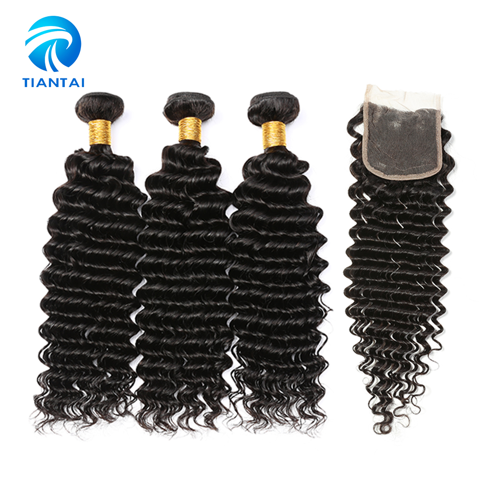 Deep Curly Hair With Closure Malaysian 8 28 Inch Black Color 3 Pieces Non Remy Weave
