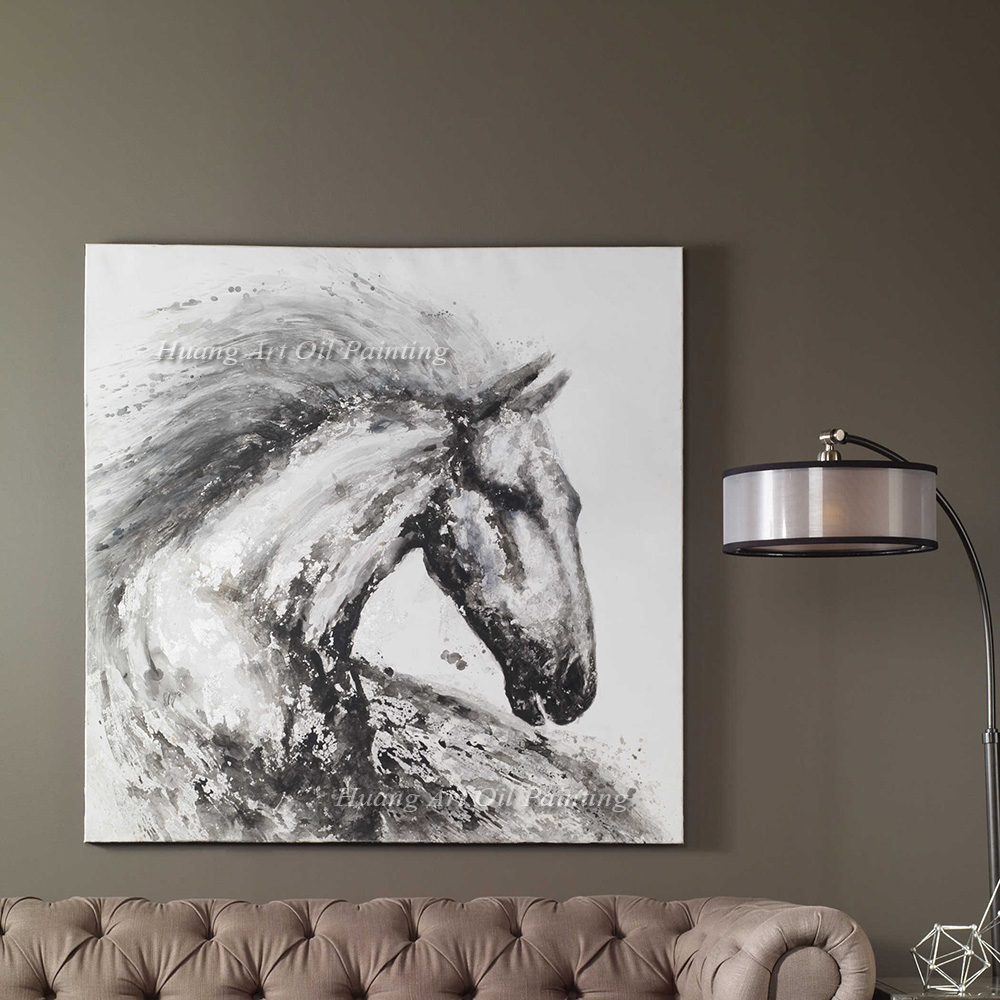 Wholesale Hand Painted Oil Painting On Canvas Gray Horse Paintings For Living Room Animals Home Decor Wall In Calligraphy From