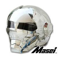 Grandness Silver Plating MASEI 610 IRONMAN Iron Man Helmet Motorcycle Helmet Half Open Face Helmet ABS