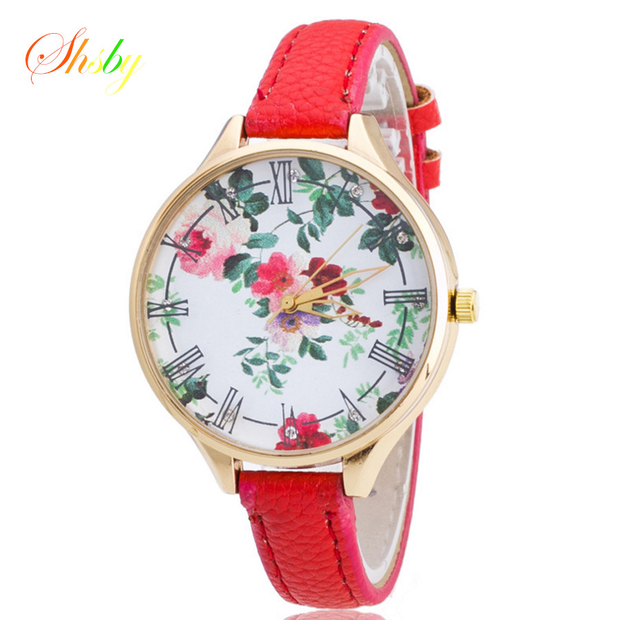 shsby new Top Brand Flower Leather strap montre femme Casual watch Ladies Wrist Quartz Watch Women dress Watches colorful Clock newly design dress ladies watches women leather analog clock women hour quartz wrist watch montre femme saat erkekler hot sale
