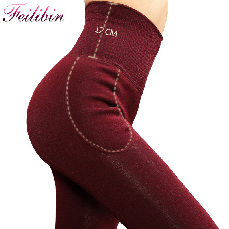 Feilibin Mulheres Inverno Leggings Grossas de Inverno Calças Quentes Calças de Cintura Alta Emagrecimento Engrossar Altas das Mulheres Elásticas Leggings De Veludo Quente