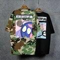 2016 Harajuku Camuflagem Nova Moda T Shirt Mulheres ShortSleeve Verão Encabeça Solto Fit Senhoras Oversize camiseta femme 1637