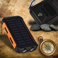 NEW Waterproof Solar Power Bank 10000 MAH bateria externa Dual USB Powerbank Carregador Solar LED Bússola Viagem para todo o telefone
