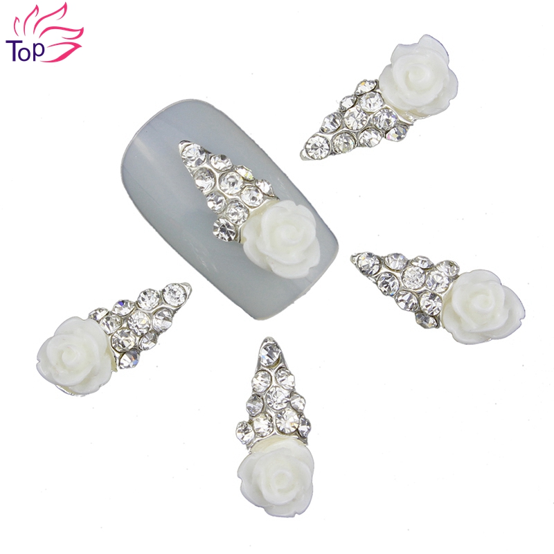 10Pcs/Pack 2015 New 3D Nail Art Decorations White Flowers Silver DIY Glitter Rhinestones For Alloy Nails Tools TN357 10pcs pack glitter green rhinestones nail art decorations alloy 3d nail jewelry charms nails tools free shipping