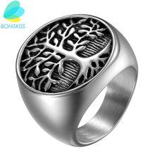 Мужское кольцо с деревом жизни boniskiss из нержавеющей стали