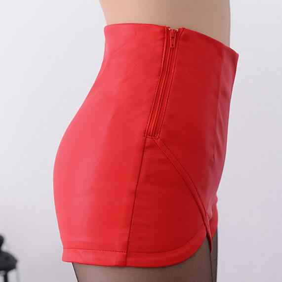 2019 wysokiej talii spodenki w stylu Vintage Slim szczelina wysokiej jakości skórzane krótkie Sexy czarny czerwony PU spodenki damskie letnie AH501