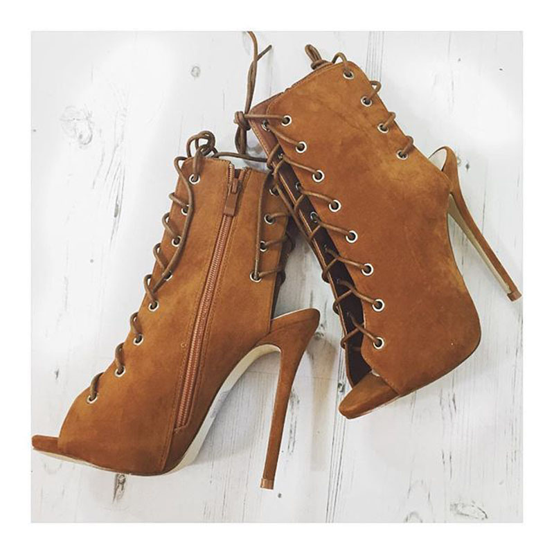 New arrival open toe female boots spring autumn women's high heel shoes suede leather zipper and lace-up gladiator ankle boots лопата зубр мастер фаворит автомобильная 4 39504