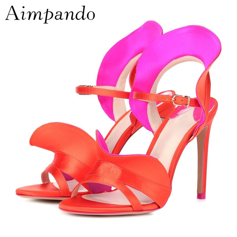 Red Ruffles Gladiator Sandals Women Open Toe Ankle Strap Stiletto Heel Sweet Summer Shoes Stage Sandalias