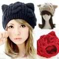 2017 Hot selling Cat Ears Cute Hats for women brand knitting warm korean lovely Beanies Winter knitted Cap Valentine's Day gift