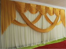 3m*6m Luxury Gold Wedding Backdrop with Beatiful Swag Wedding drape and curtain wedding marriage decoration