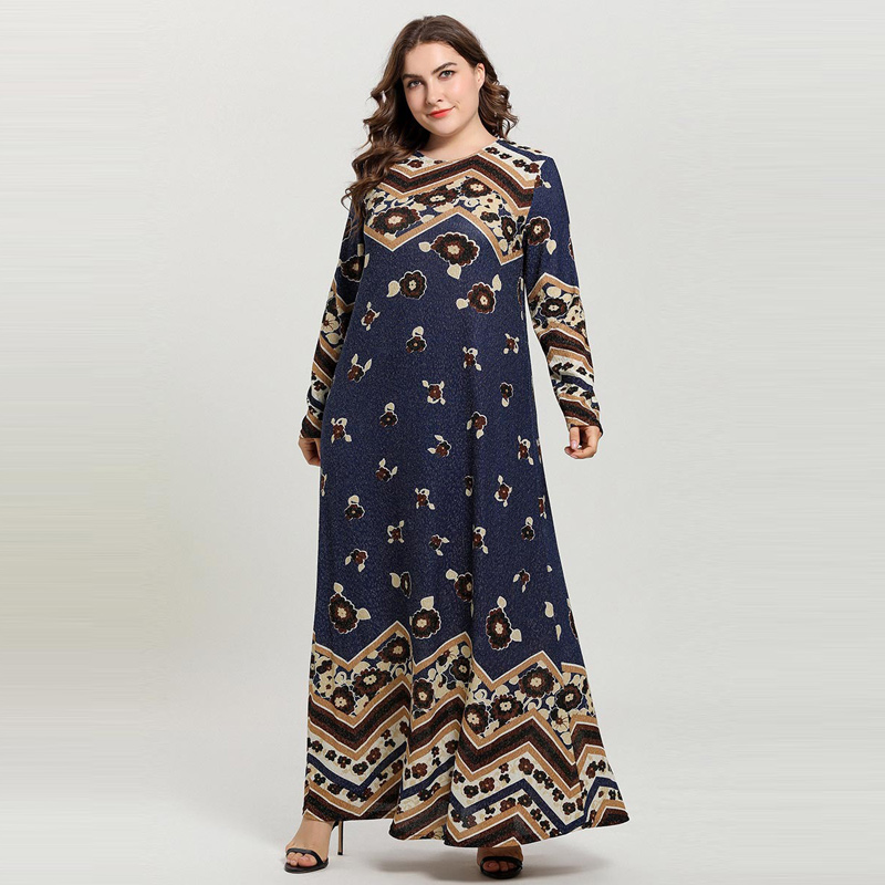 2019 Fashion Muslim Dress Women Long Sleeve Plus Size Print Elastic Caftan Marocain Turkey Bangladesh Pakistani Dress Vestidos