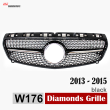 replacement ABS diamond front grille grill for 2013 2014 2015 Mercedes W176 A200 A180 A260 A45 AMG Silvery Gloss Black