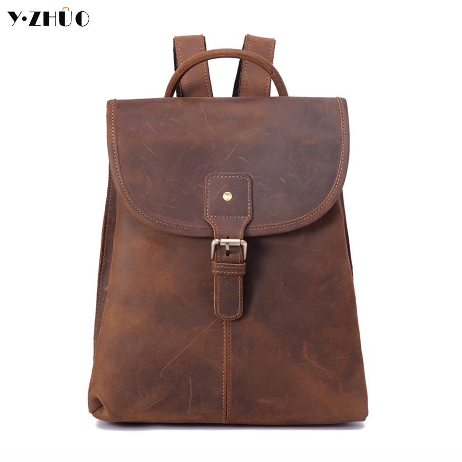 100% genuine leather man bag cow leather man backpack high quality men shoulder duffel bag school men travel Laptop bag brown cow leather man backpack 100