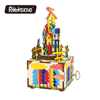 Free Shipping Robotime 3D Puzzle DIY Lovely Toy Wooden Birthday Tchotchkes Drop Shipping Music Box Castle