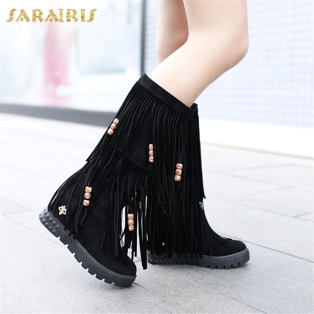 03724530 34 Zapatos Media negro Tacones Botas Plus On Aumento Mujer Sarairis De  Pantorrilla Size Moda marrón ...